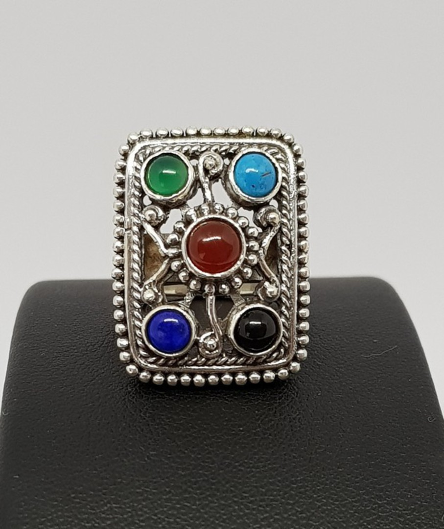 Gemstone ring with turquoise, carnelian, lapis and more image 2