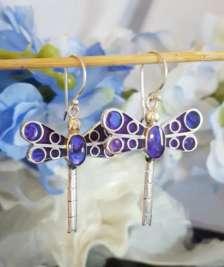 Purple dragonfly earrings image 3