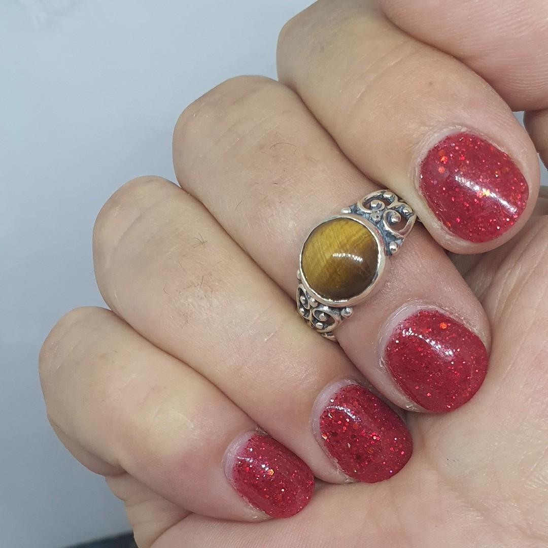 Sterling silver tigers eye gemstone ring image 1
