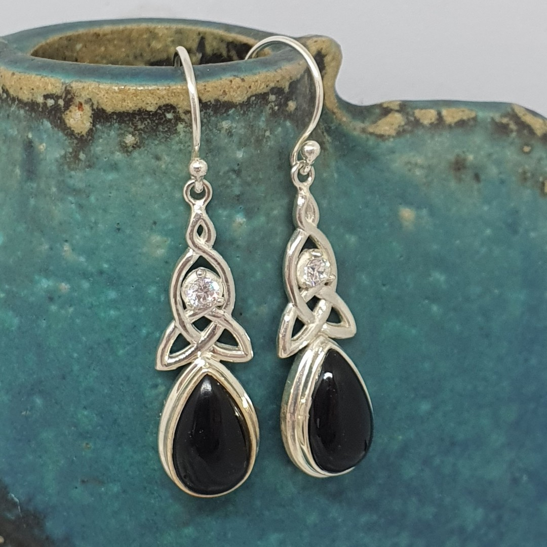 Silver onyx earrings with infinity knot and cz sparkle image 2