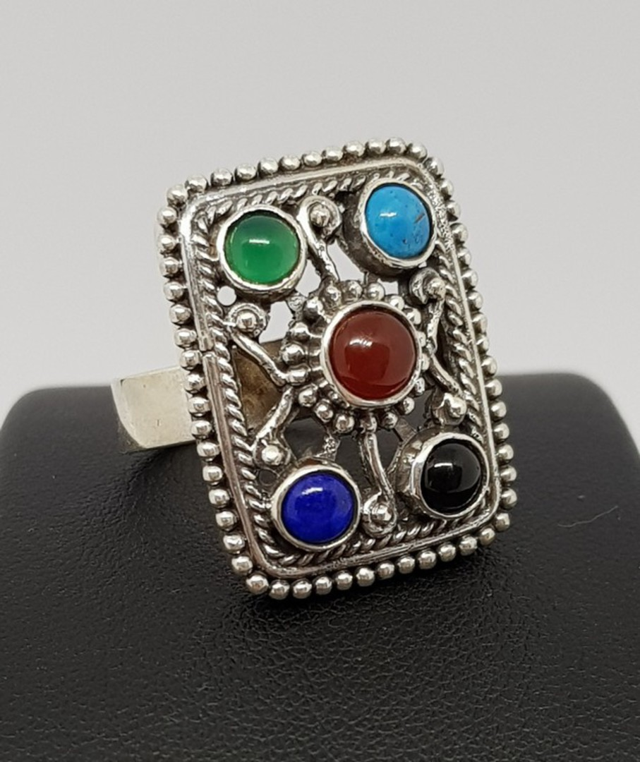 Gemstone ring with turquoise, carnelian, lapis and more image 0