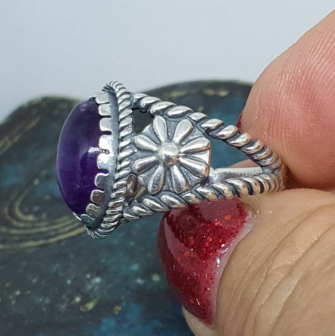 Sterling silver natural amethyst flower ring image 1