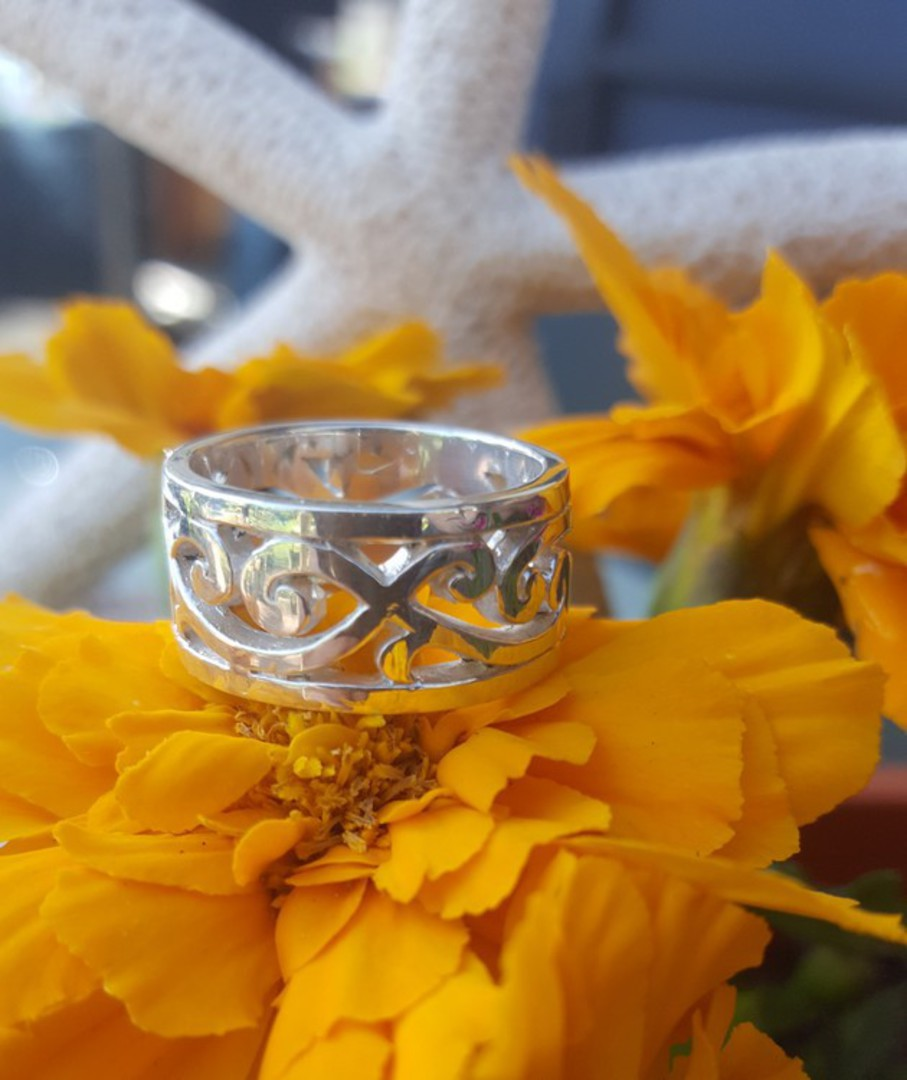 Sterling silver wide band with carved koru designs image 2