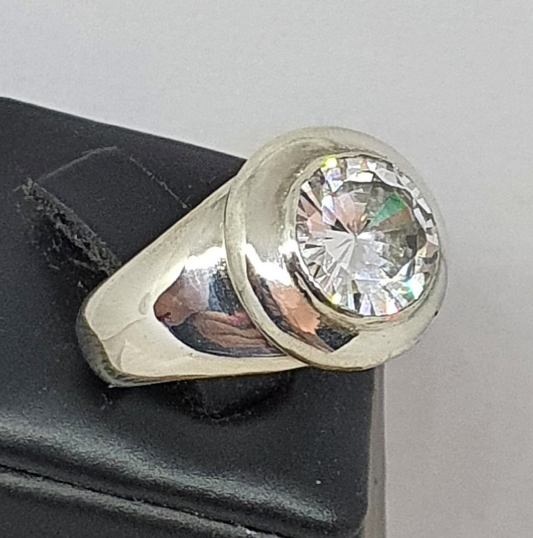 Made in NZ, chunky silver cubic zirconia ring image 3