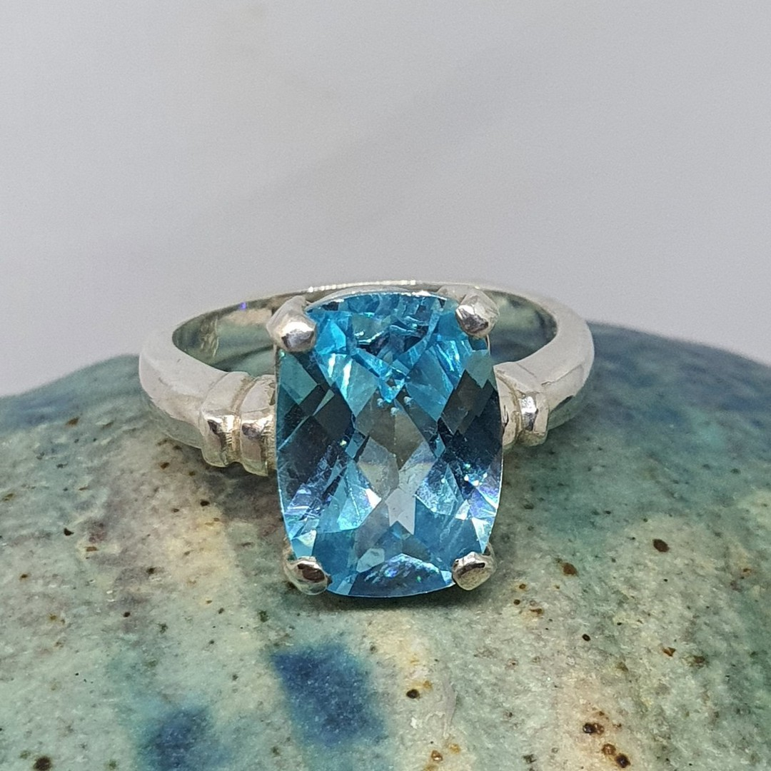 Silver blue topaz ring - NZ made image 5