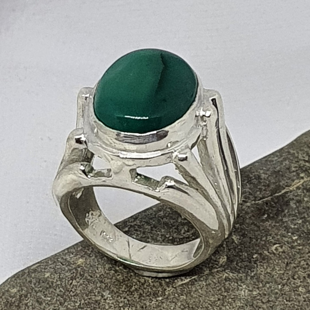 Made in New Zealand, sterling silver green fluorite gemstone ring image 0