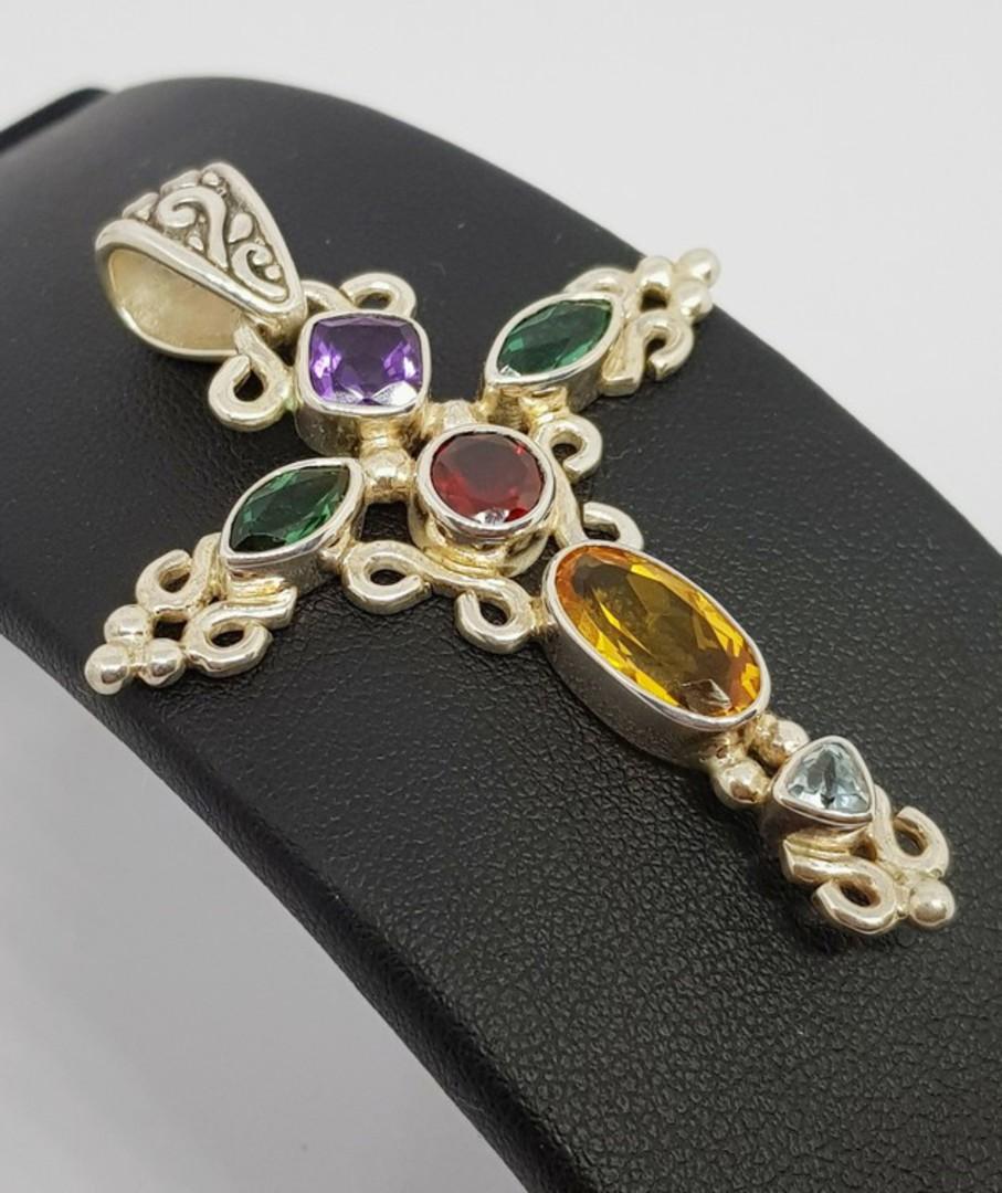 Sparkling coloured gemstone silver pendant cross necklace image 3