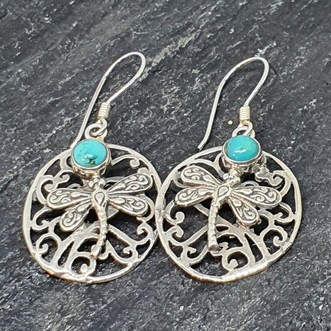 Silver turquoise large oval earrings image 2