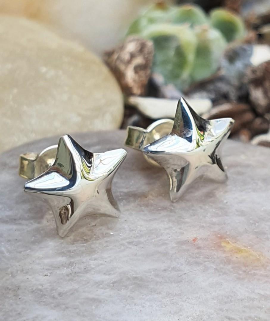 Sterling silver raised star stud earrings image 1
