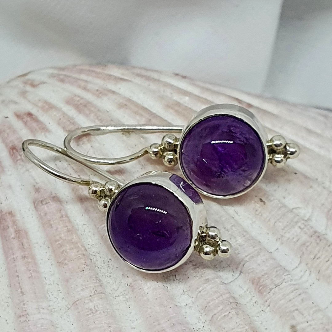 Silver earrings with natural amethyst gemstone image 1