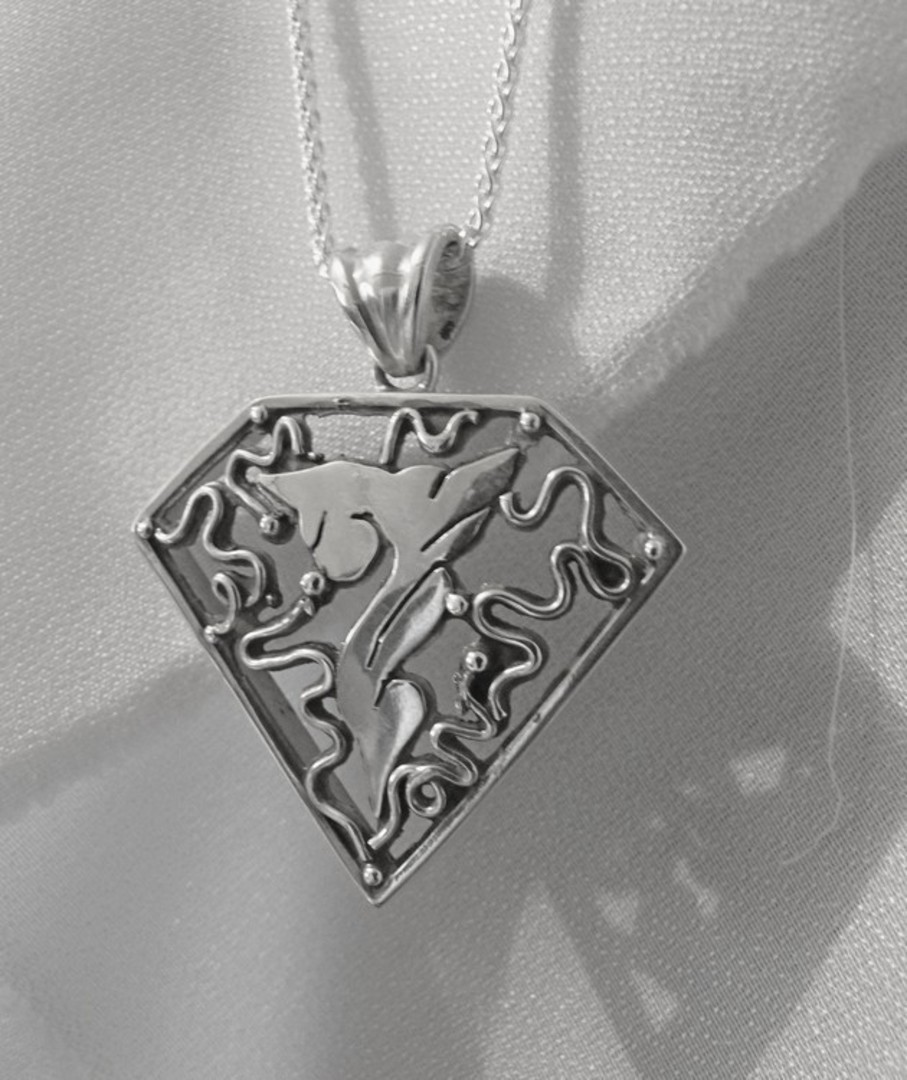 Large carved silver triangle pendant necklace image 1