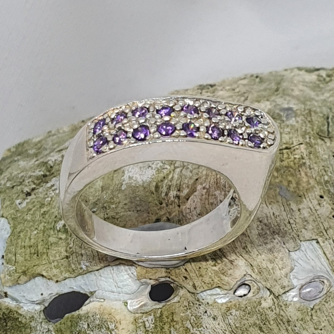 Sterling silver ring with two rows of sparkling  amethyst image 2
