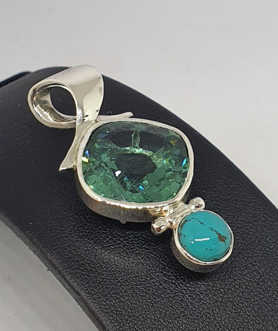 Made in NZ turquoise and coloured gemstone pendant image 2