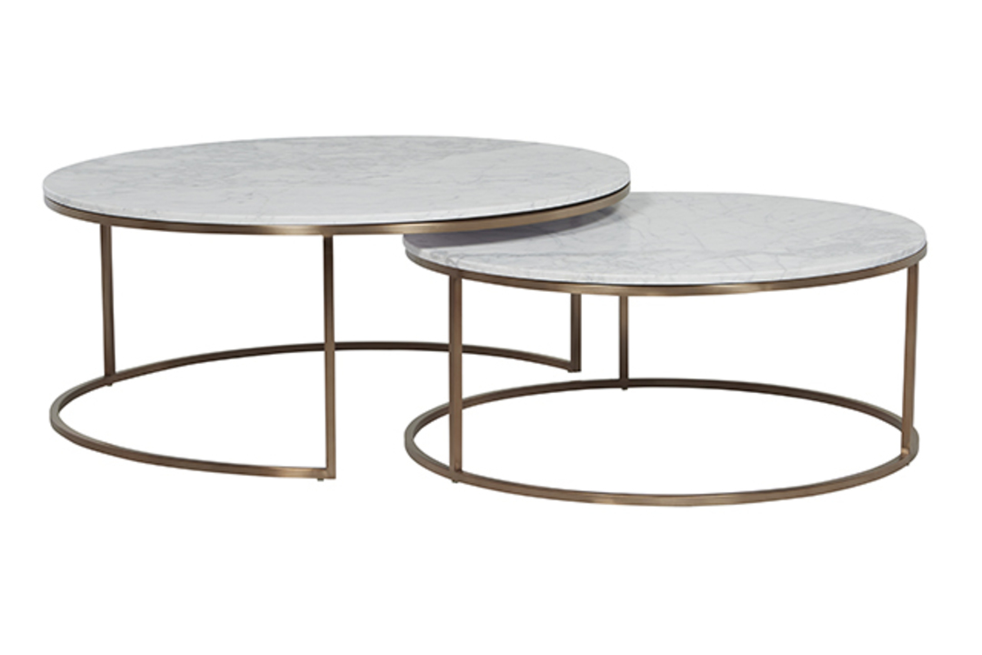 Elle Round Marble Nest Coffee Tables image 1