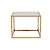 Click to swap image: <strong>Elle Cube Marble Side-Brass/White- RRP-$1302</strong></br>Dimensions: W600 x D600 x H460mm</br>Shipped: Assembled (Top Separate) - 0.234m3</br>Frame Colour - Brass</br>Frame Material - Brass</br>Top Colour - White</br>Top Finish - Matt Lacquer</br>Top Material - Carrara Marble (Italian)