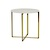 Click to swap image: <strong>Elle Luxe Side Table-Gold/Wh - RRP-$951</strong></br>Dimensions: 500 Dia x H500mm</br>Shipped: Assembled (Top Separate) - 0.107m3</br>Base Colour - Brushed Gold</br>Base Material - Stainless Steel</br>Top Colour - White</br>Top Finish - Matt</br>Top Material - Carrara Marble (Italian)