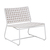 Click to swap image: <strong>Marina Sq Occ Ch-White/White - RRP-$</strong></br>Dimensions: W705 x D745 x H715mm</br>Shipped: Assembled - 0.328m3</br>Chair Max. Weight - 120kg</br>Frame Colour - White</br>Frame Finish - Powdercoated</br>Frame Material - Aluminium</br>Frame Stackable - No</br>Weaving Colour - Whiteshell</br>Weaving Material - Resin Straw