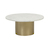 Click to swap image: <strong>Elle Pillar CoffeeTb-Gold/MtWh - RRP-$3266</strong></br>Dimensions: 800 Dia x H370mm</br>Shipped: K/D - Requires Assembly on site - 0.153m3</br>Base Colour - Brushed Gold</br>Base Material - Stainless Steel</br>Top Colour - White</br>Top Finish - Matt</br>Top Material - Carrara Marble (Italian)