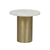 Click to swap image: <strong>Elle Pillar Side Tb-Gold/MtWhi - RRP-$2000</strong></br>Dimensions: 500 Dia x H500mm</br>Shipped: K/D - Requires Assembly on site - 0.071m3</br>Base Colour - Brushed Gold</br>Base Material - Stainless Steel</br>Top Colour - White</br>Top Finish - Powdercoated</br>Top Material - Carrara Marble (Italian)