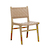 Click to swap image: <strong>Willow Leather Dining-Teak/Tan - RRP-$1001</strong></br>Dimensions: W520 x D580 x H860mm</br>Shipped: Assembled - 0.227m3</br>Frame Colour - Natural Teak</br>Frame Material - Teak</br>Weaving Colour - Tan</br>Weaving Material - Leather