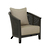 Click to swap image: <strong>Baha Sofa Lounge Ch-Ebony/Black - RRP-$2052</strong></br>Dimensions: W705 x D810 x H760mm</br>Shipped: Assembled - 0.57m3</br>Arm Height - 605mm</br>Cushion Configuration - 60x60cm (back cushion)</br>Cushion cover Material - Fabric (100% Polyester)</br>Frame Colour - Ebony</br>Frame Material - Teak</br>Leg Height - 135mm</br>Seat Height - 380mm</br>Weaving Colour - Ebony</br>Weaving Material - Rattan