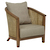 Click to swap image: <strong>Baha Sofa Lounge Ch-Hazelnut - RRP-$2052</strong></br>Dimensions: W705 x D810 x H760mm</br>Shipped: Assembled - 0.57m3</br>Arm Height - 605mm</br>Cushion Configuration - 60x60cm (back cushion)</br>Cushion cover Material - Fabric (100% Polyester)</br>Frame Colour - HAZ</br>Frame Material - Teak</br>Leg Height - 135mm</br>Seat Height - 380mm</br>Weaving Colour - HAZ</br>Weaving Material - Rattan