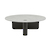 Click to swap image: <strong>Natadora Pivot Coffee Table - Wh/Black Onyx</strong></br>Dimensions: 1000 Dia x H350mm</br>Shipped: K/D - Requires Assembly on site - 0.152m3</br>Additional Dimensions Height To Underside Of Top - 335mm</br>Frame Material - Solid Oak</br>Frame Colour - Black Onyx</br>Product Max. Weight - 20kg</br>Product Weight - 47kg</br>Top Material - Marble</br>Top Colour - White Marble</br>Top Sealer - PU