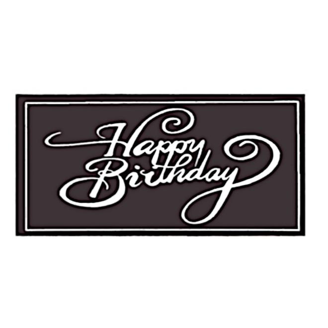 Chocolate Dark Happy Birthday Oblong 100mm x 50mm (18PK) image 0