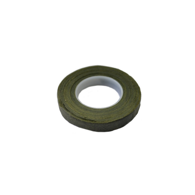Avocado Green waxed paper, 12mm wide floral tape image 0