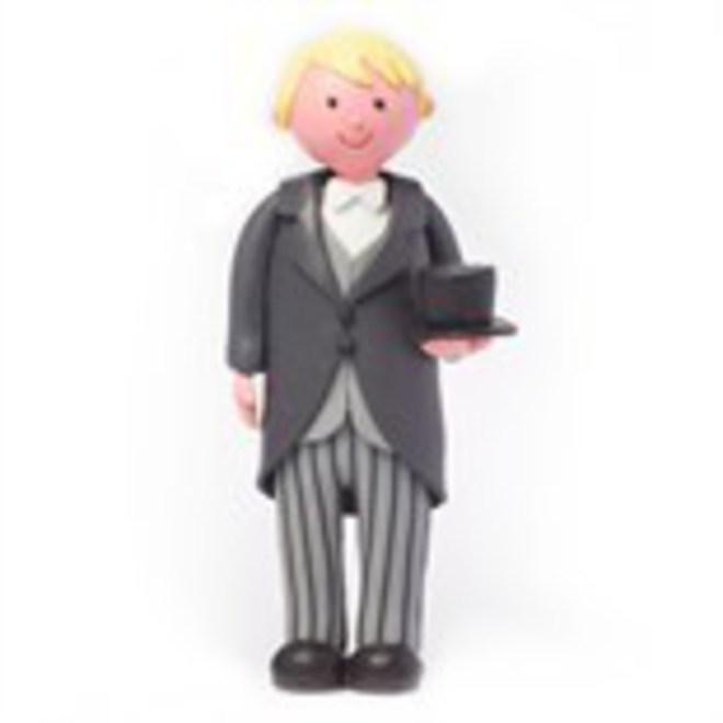 Claydough Groom (Blonde) Top Hat & Tail, 120mm image 0