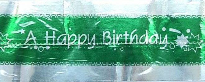 Cake Band Happy Birthday Green/Silver 63mm (7m) - SOLD OUT image 0