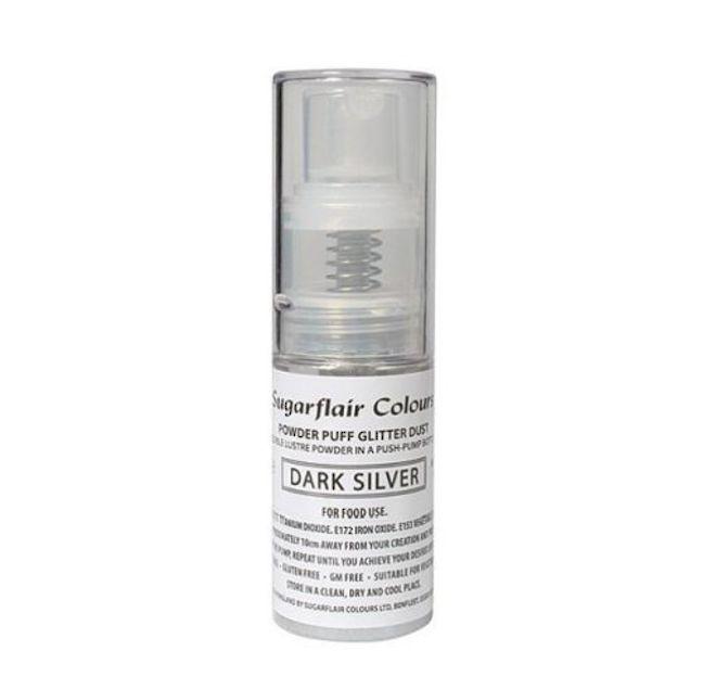 Sugarflair Edible Dark Silver Lustre  (Pump) 10g image 0