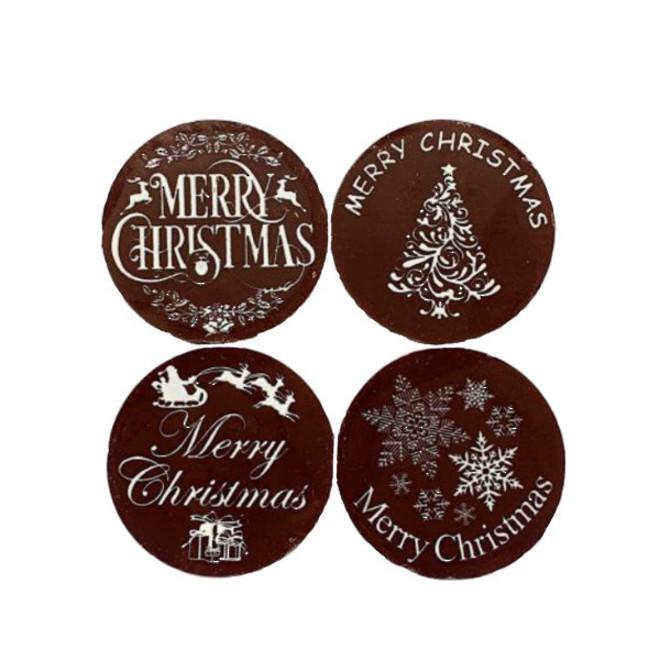 """Chocolate Dark """"Christmas Assorted"""" Round 50mm (32PK) image 0"""