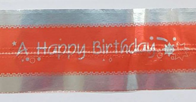 Cake Band Happy Birthday Red/Silver 63mm (7m) - SOLD OUT image 0