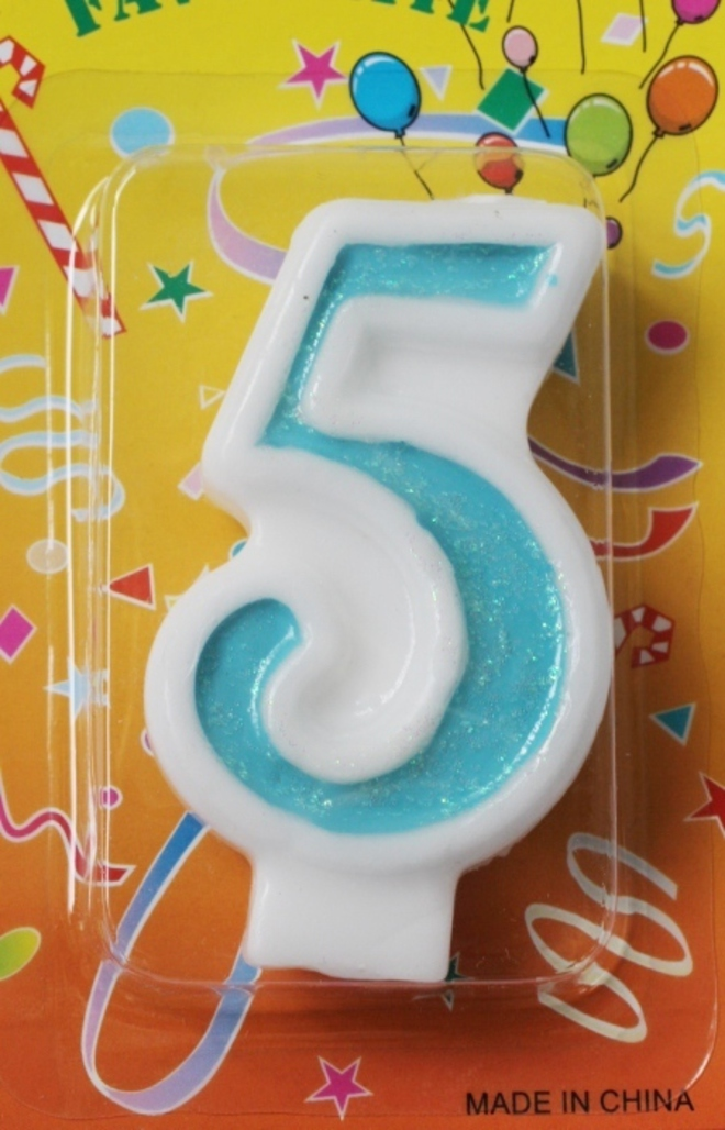 Candle Glitter Blue Number #5 (80mm) image 0