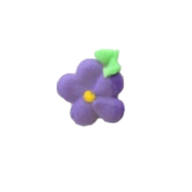Icing Drop Flowers Purple with leaf 19mm (Packet of 24) image 0