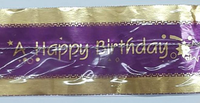Cake Band Happy Birthday Purple/Gold 63mm (1m) image 0