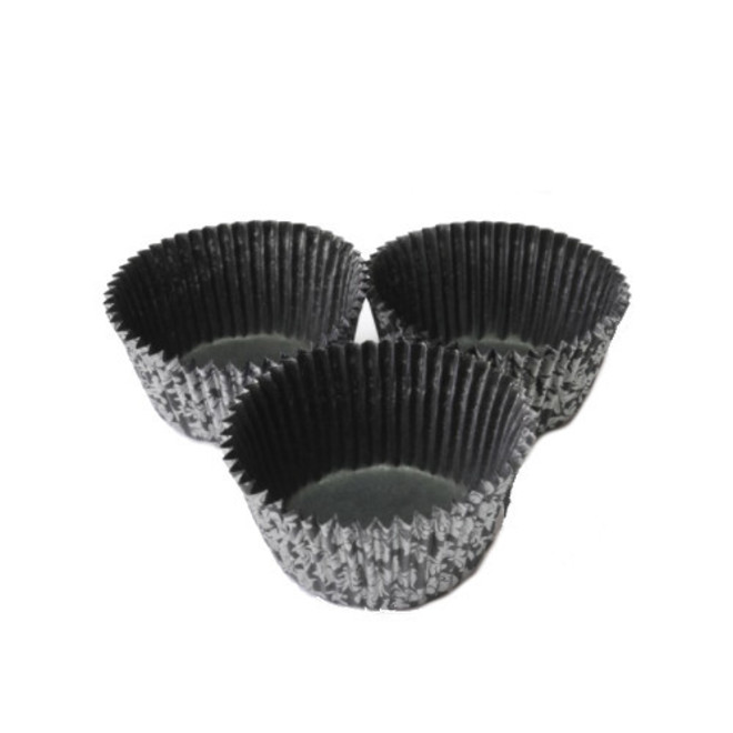 Large Muffin Paper Cases High Tea Black/Silver 55x 36mm (500) image 0