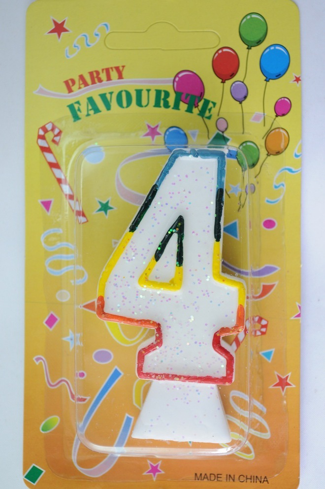 Candle White Multi Colour Edge Number #4 (80mm) image 0