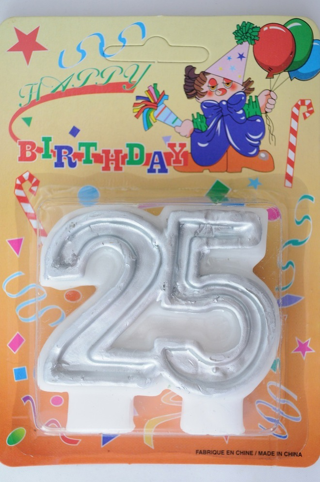 Candle 25 Numeral Silver image 0