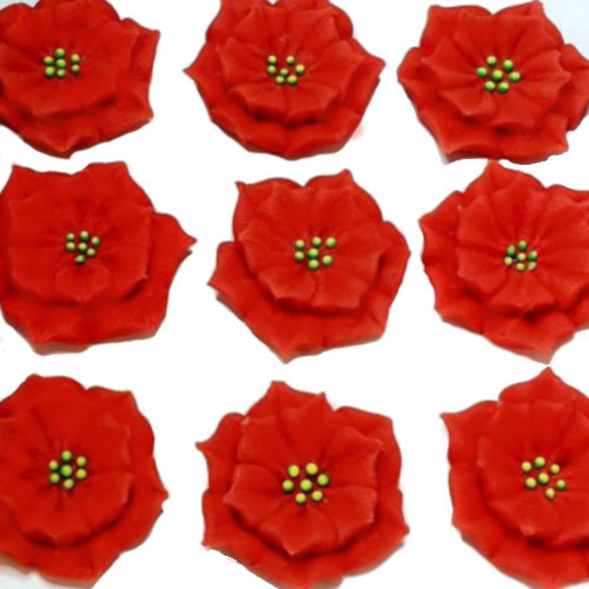 Poinsettia Flowers, 30mm, Red , 2D Icing (Wholesale Box of 40) image 0