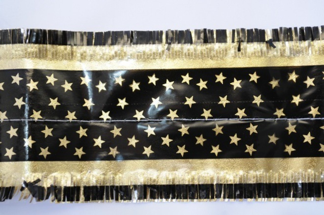 Star Pattern Band 7m x 76mm wide  Gold on Black image 0