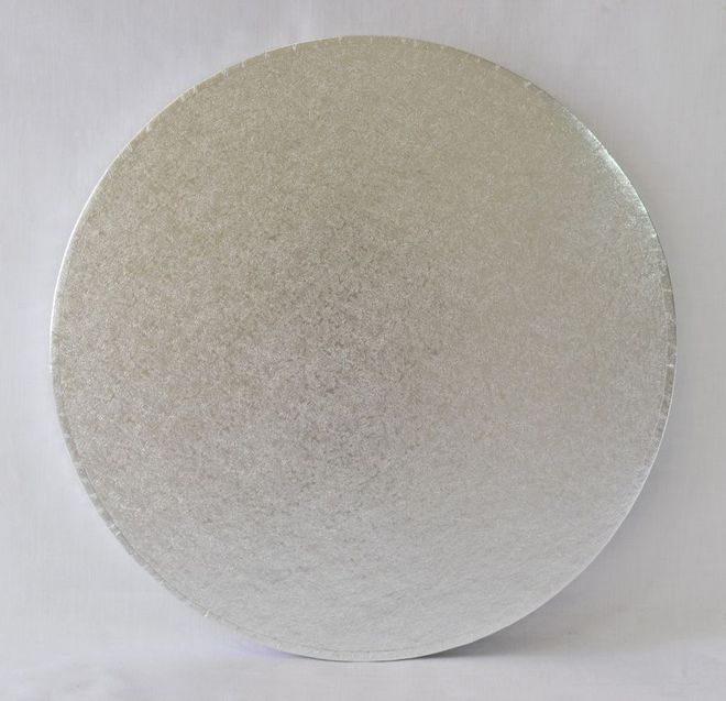 "Polystyrene Cake Board, Round, Silver Covered, 8"" (200mm) image 0"