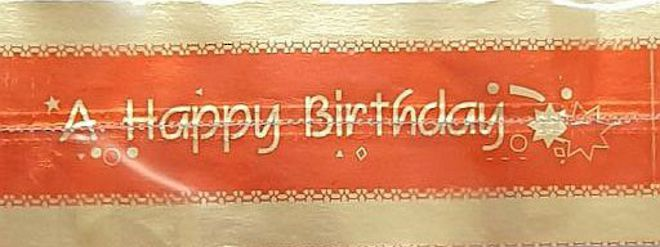 Cake Band Happy Birthday Red/Gold 63mm (1m) image 0