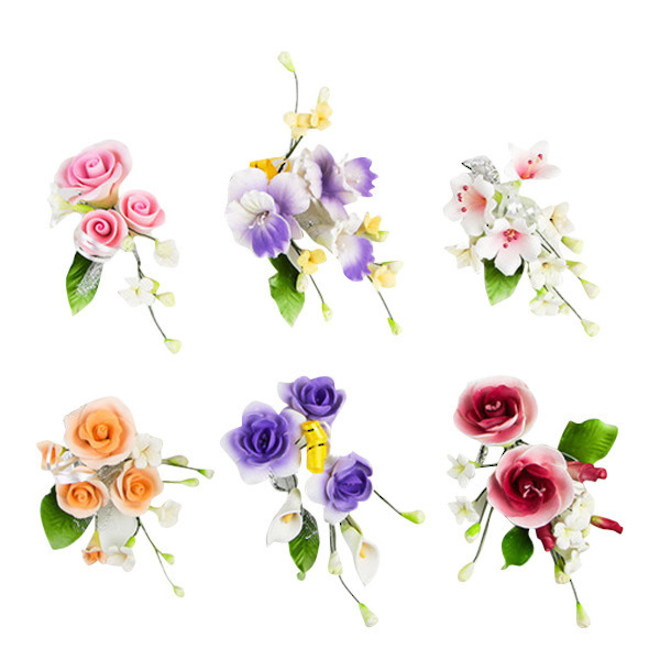 Assorted Icing Flower sprays, approx 100mm (Box of 6) image 0