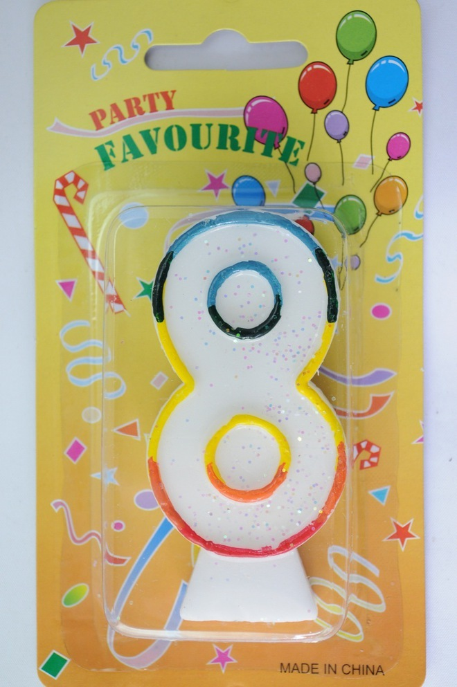 Candle White Multi Colour Edge Number #8 (80mm) image 0