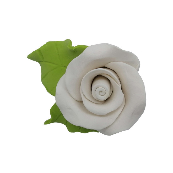Icing White Roses With Leaves 40mm.  Box of 144 image 0