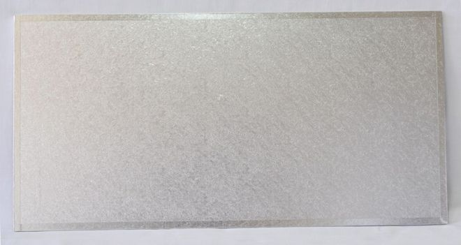 """740mm x 400mm   29"""" x 16"""" Rectangle 4mm Cake Card Silver image 0"""