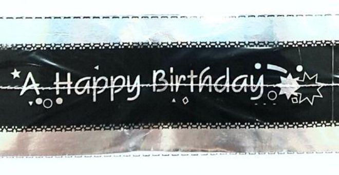 Cake Band Happy Birthday Black/Silver 63mm (7m) image 0