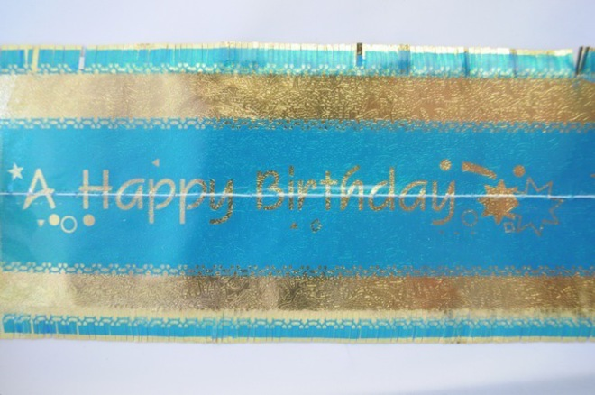 Happy Birthday Band 7m x 76mm wide  Gold on Blue image 0